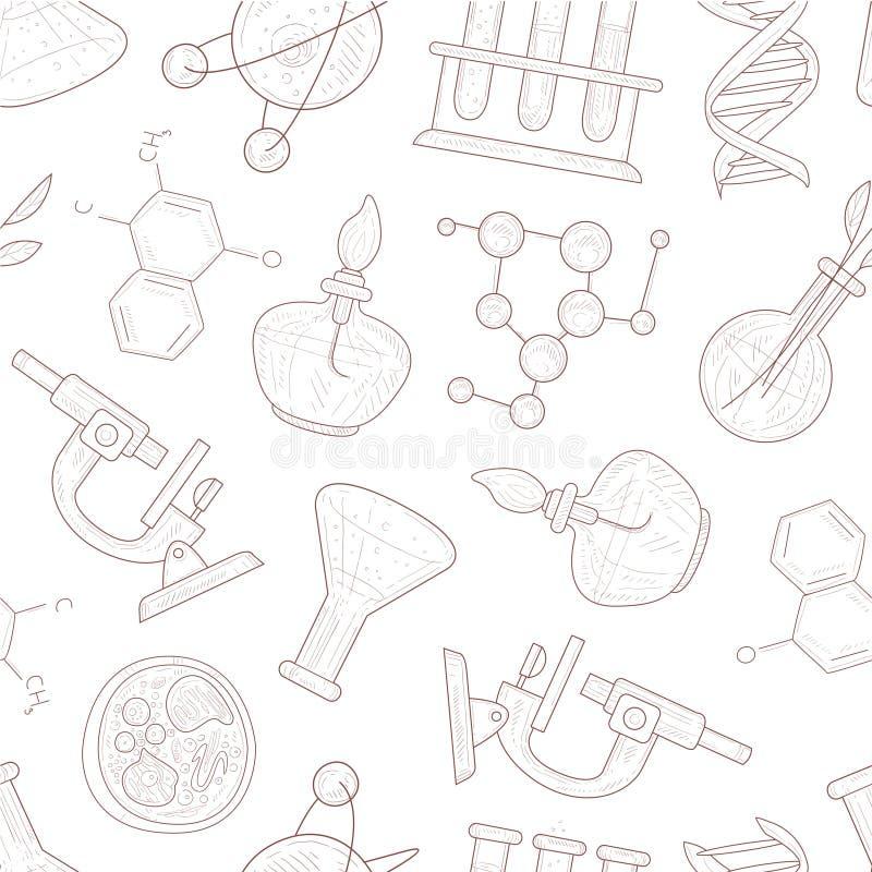 Wetenschaps Naadloos Patroon, Wetenschappelijke Onderzoek, Geneeskunde, Technologiehand Getrokken Vectorillustratie stock illustratie