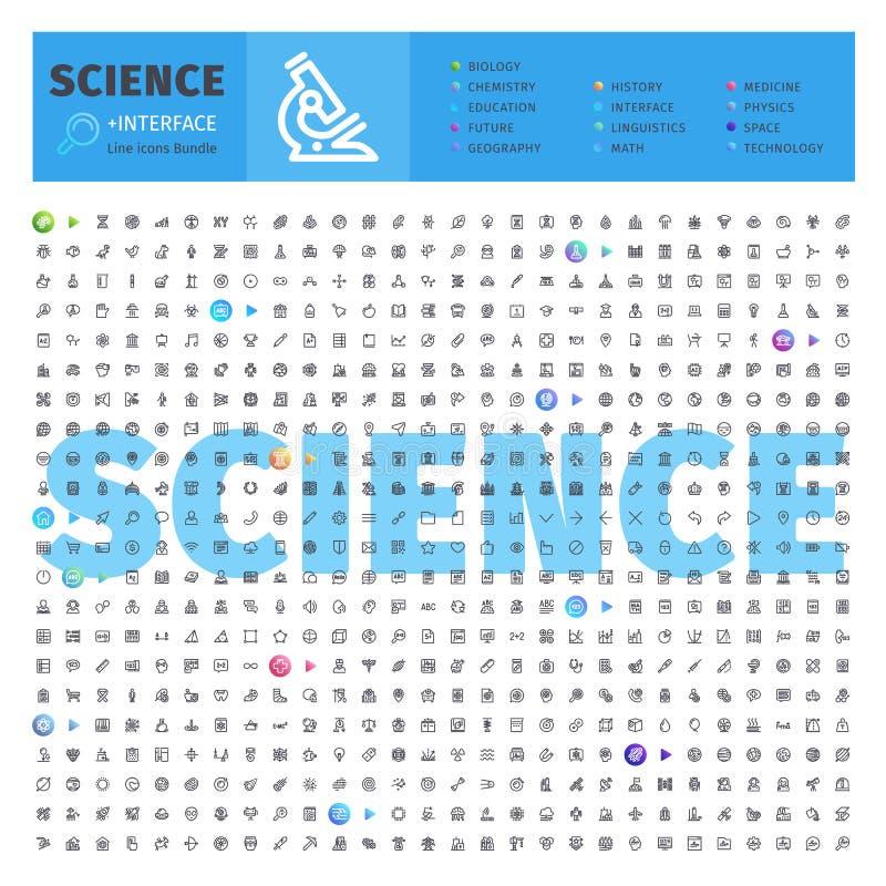 Wetenschaps Thematische Inzameling van Lijnpictogrammen stock illustratie