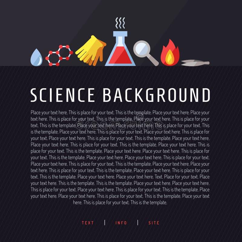 Wetenschaps vectorachtergrond Chemie, Fysica en Biologie Modern vlak ontwerp vector illustratie
