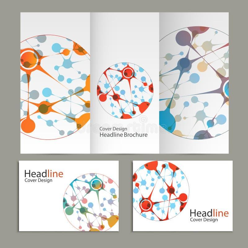 Wetenschaps vectorachtergrond Moderne vectormalplaatjes voor brochure, vlieger, dekkingstijdschrift of rapport in A4 grootte stock illustratie