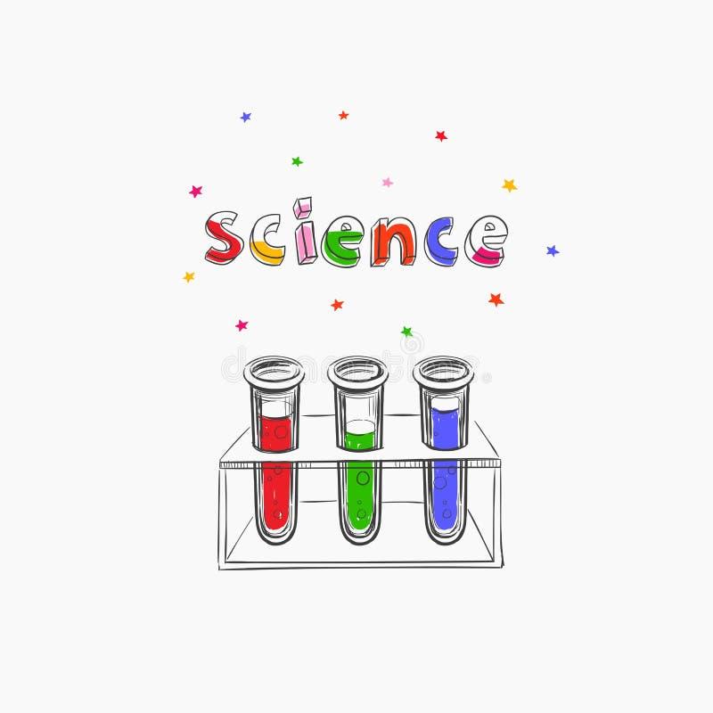 Wetenschaps vectorconcept chemie Onderwijs school Hand getrokken illustratie met medische apparatuur Kleurrijke creatieve schets  royalty-vrije illustratie
