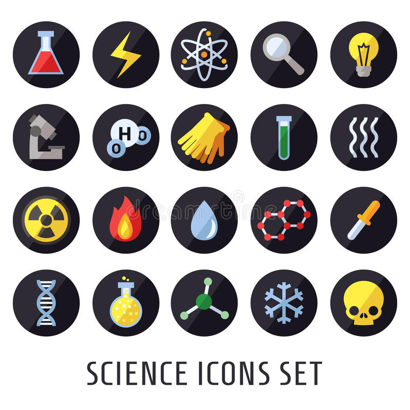 Wetenschaps vectorpictogrammen Chemie, Fysica en Biologie Modern vlak ontwerp vector illustratie