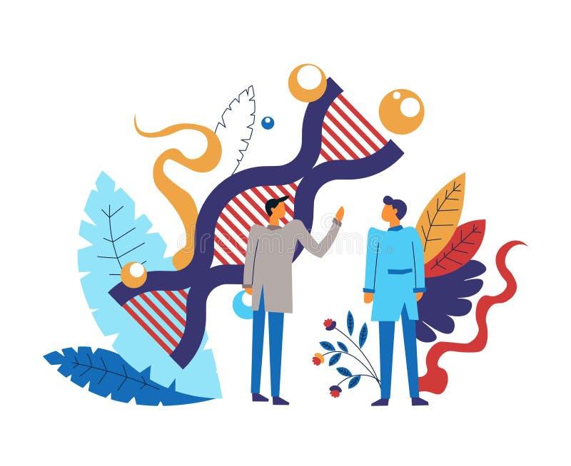 Wetenschapsactiviteit en onderzoek door slimme mensen wordt gemaakt die royalty-vrije illustratie