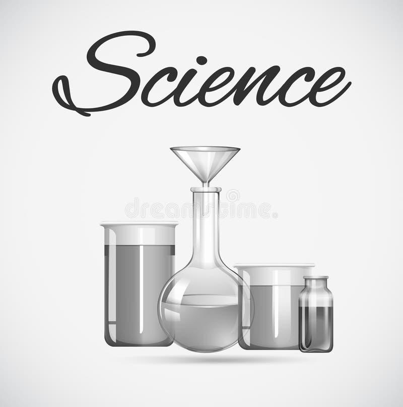 Wetenschapsbekers met binnen chemisch product royalty-vrije illustratie