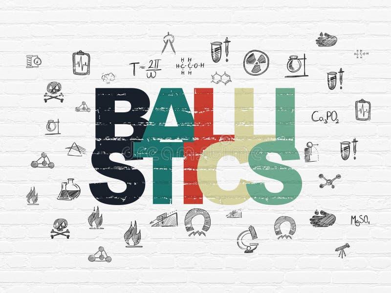 Wetenschapsconcept: Ballistiek op muurachtergrond stock illustratie