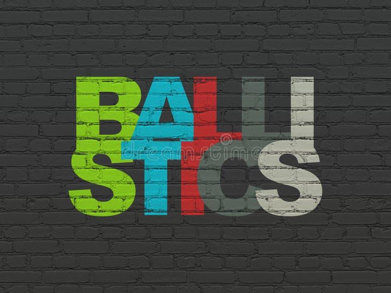 Wetenschapsconcept: Ballistiek op muurachtergrond vector illustratie