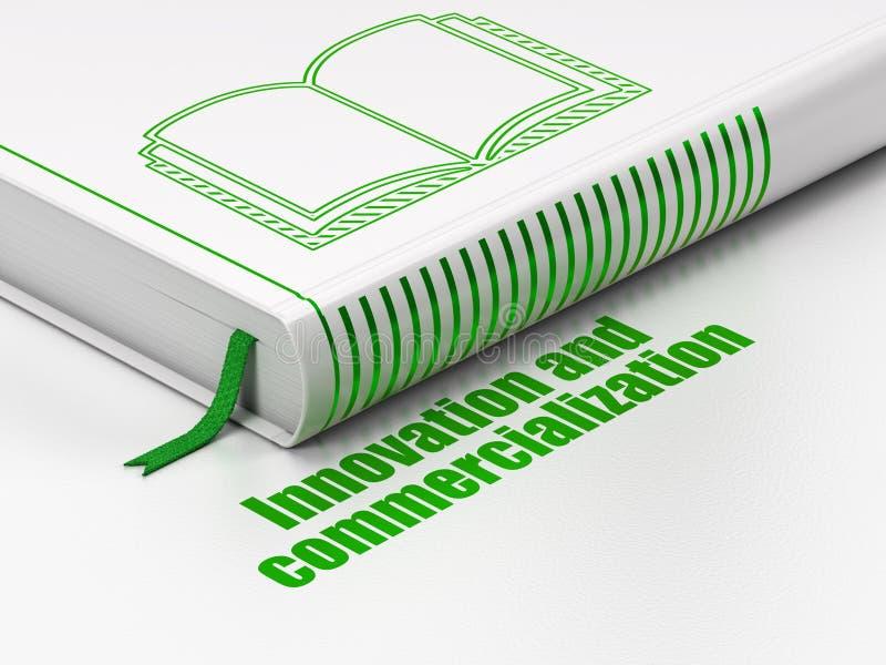 Wetenschapsconcept: boekboek, Innovatie en Introductie op de markt op witte achtergrond royalty-vrije illustratie