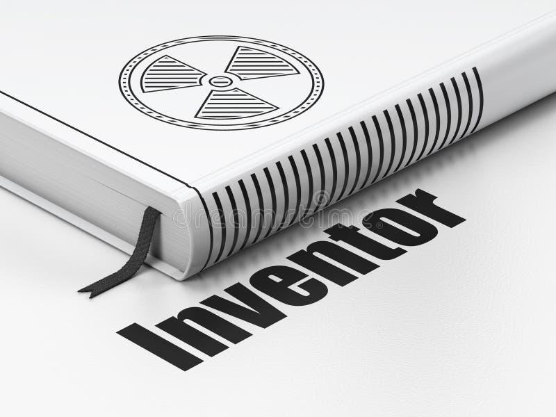 Wetenschapsconcept: boekstraling, Uitvinder op witte achtergrond vector illustratie