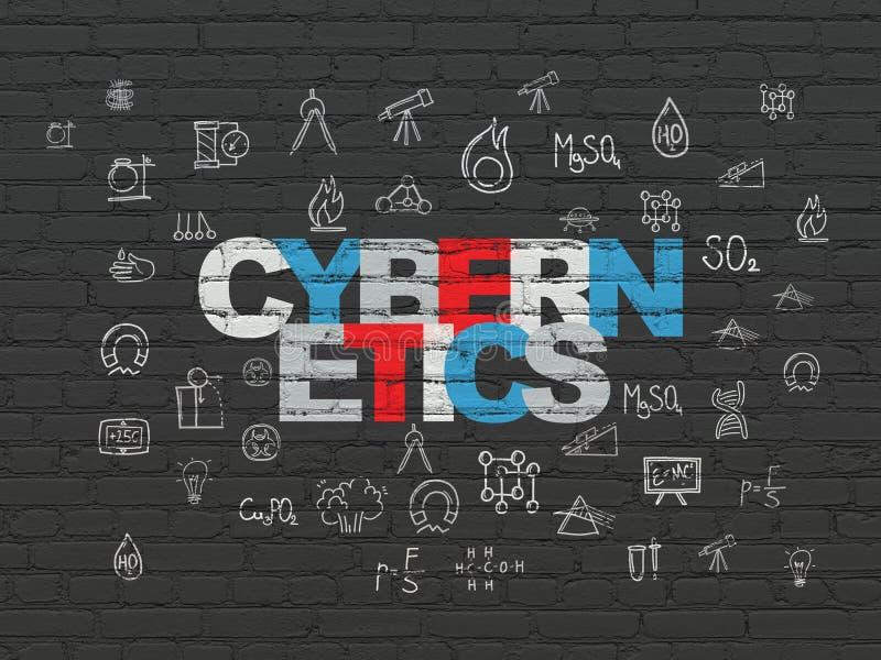 Wetenschapsconcept: Cybernetica op muurachtergrond vector illustratie