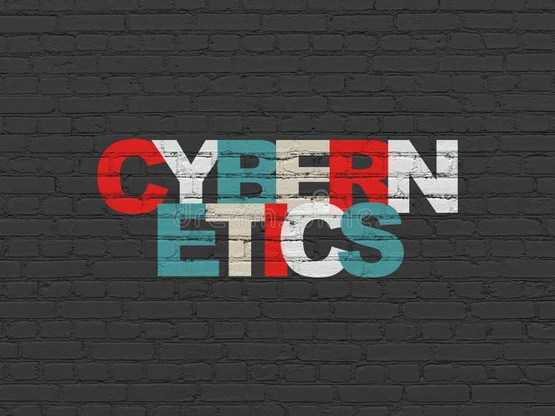 Wetenschapsconcept: Cybernetica op muurachtergrond royalty-vrije illustratie