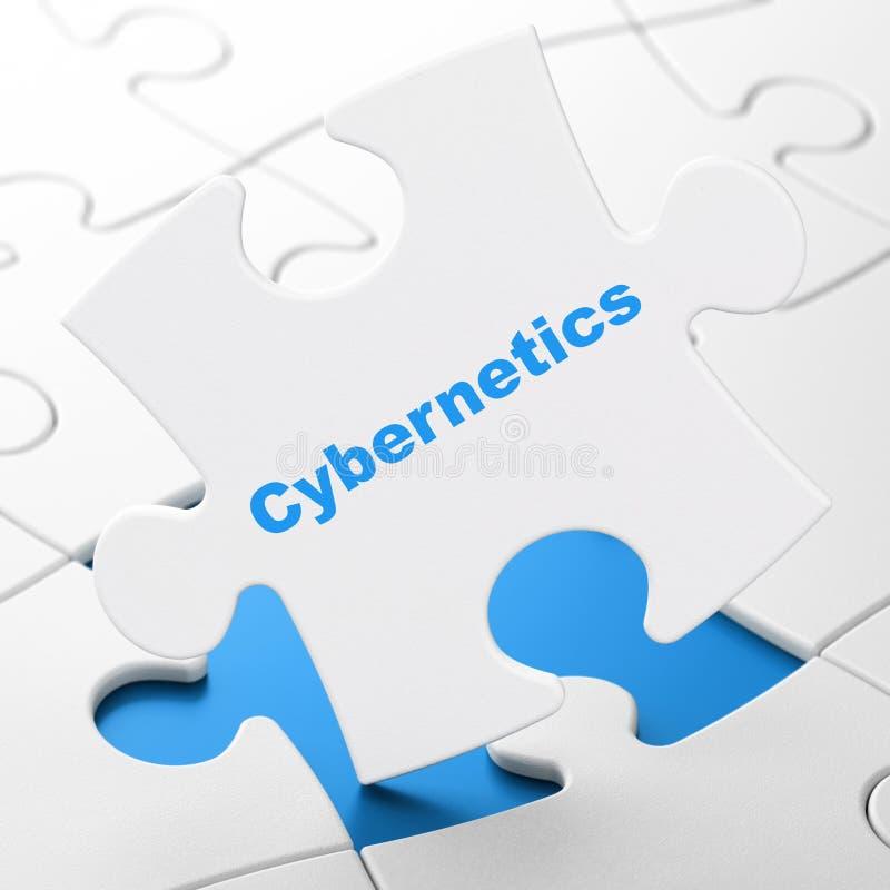 Wetenschapsconcept: Cybernetica op raadselachtergrond vector illustratie