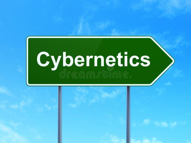 Wetenschapsconcept: Cybernetica op verkeerstekenachtergrond vector illustratie