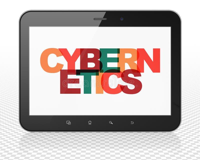 Wetenschapsconcept: De Computer van tabletpc met Cybernetica op vertoning stock illustratie
