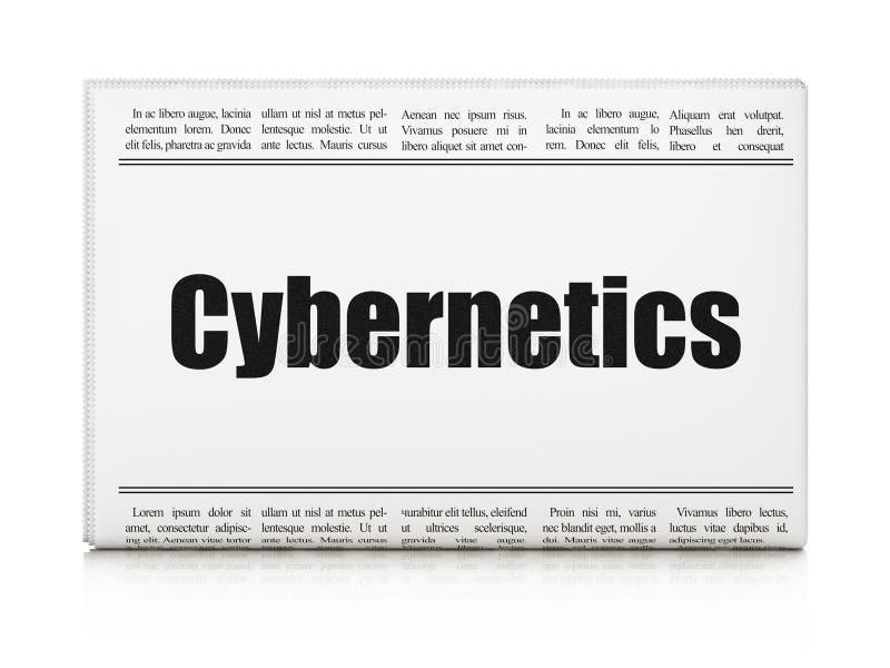 Wetenschapsconcept: de Cybernetica van de krantenkrantekop royalty-vrije illustratie