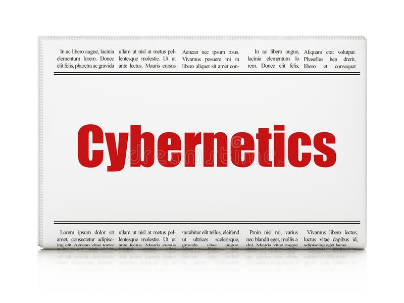 Wetenschapsconcept: de Cybernetica van de krantenkrantekop stock illustratie