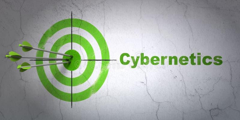 Wetenschapsconcept: doel en Cybernetica op muurachtergrond vector illustratie