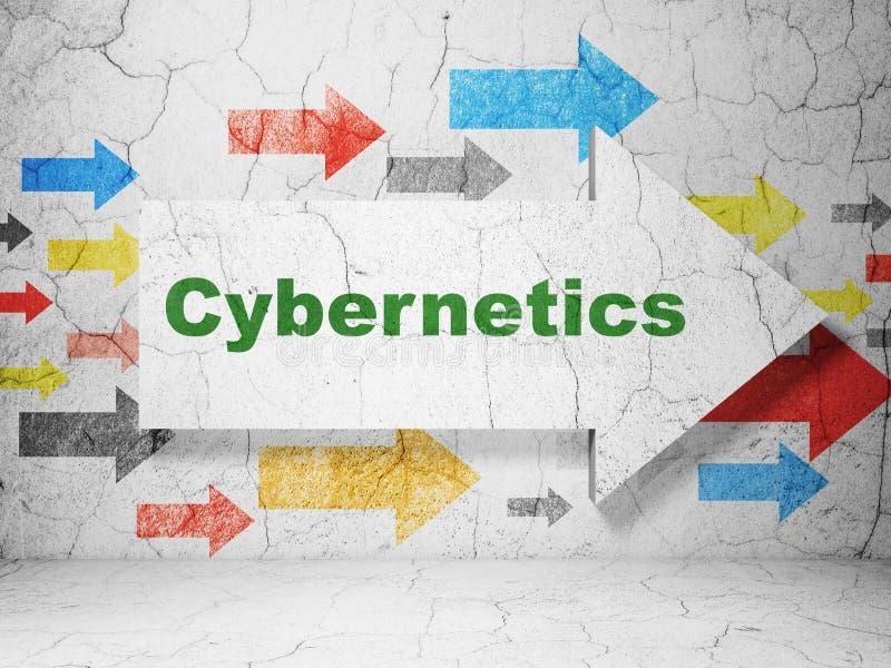 Wetenschapsconcept: pijl met Cybernetica op de achtergrond van de grungemuur royalty-vrije illustratie