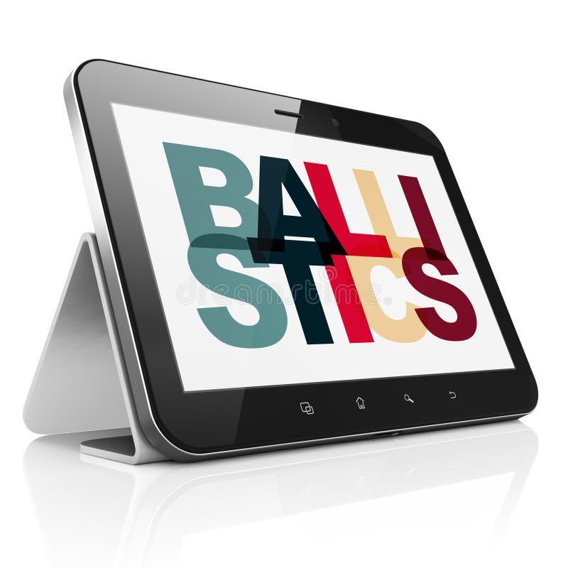 Wetenschapsconcept: Tabletcomputer met Ballistiek op vertoning stock illustratie