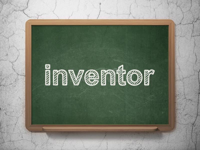 Wetenschapsconcept: Uitvinder op bordachtergrond stock illustratie