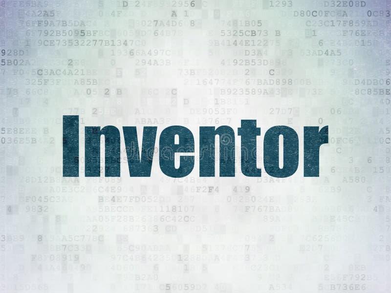 Wetenschapsconcept: Uitvinder op Digitale Gegevensdocument achtergrond stock illustratie