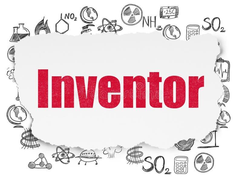 Wetenschapsconcept: Uitvinder op Gescheurde Document achtergrond vector illustratie