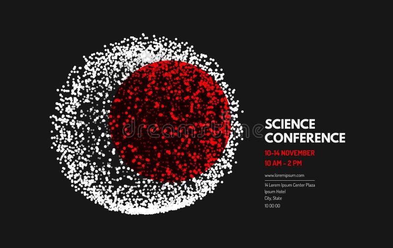 Wetenschapsconferentie gebied Het malplaatje van de zakelijke gebeurtenisuitnodiging Kan voor online cursussen, hoofdklasse, semi royalty-vrije illustratie