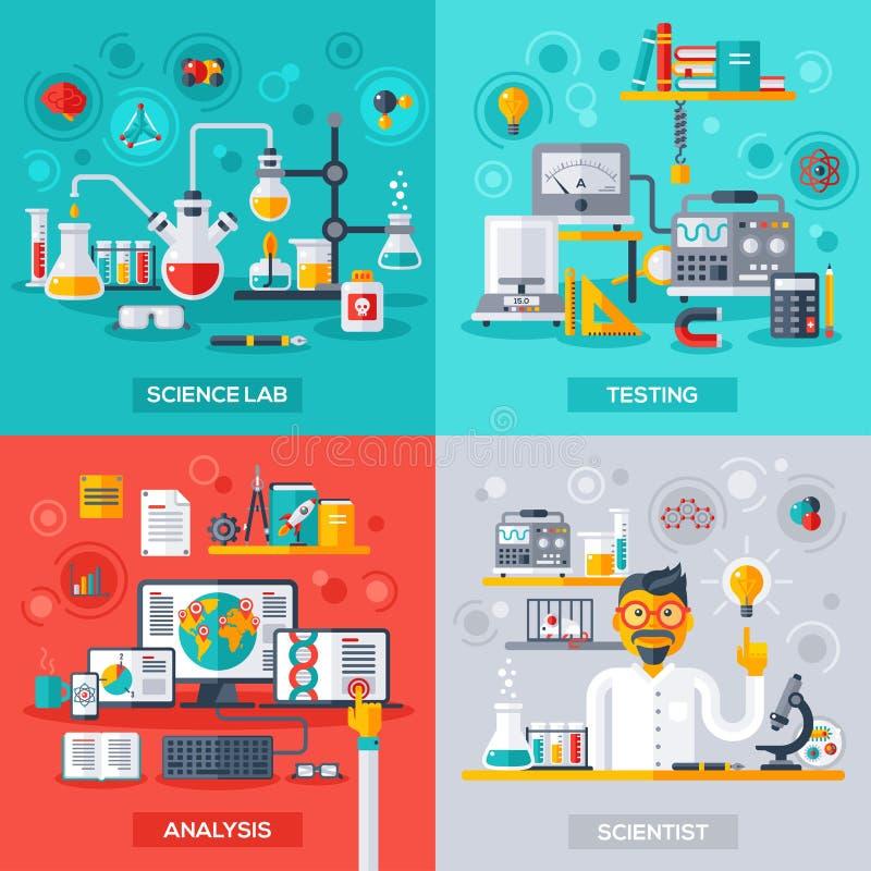 Wetenschapslaboratorium, het Testen, Analyse, Wetenschapper vector illustratie