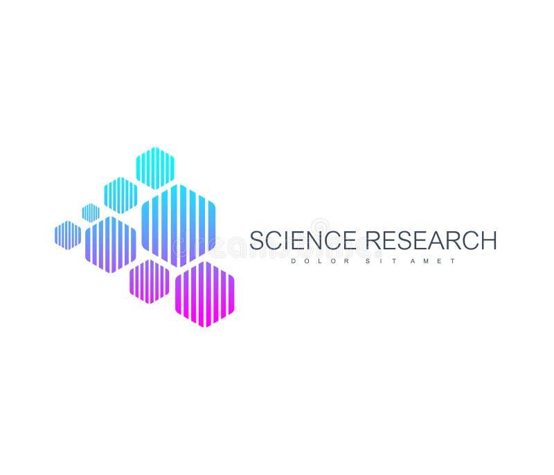 Wetenschapsonderzoek Abstract Logo Design Vector Template Wetenschappelijk Logotype-conceptenpictogram voor geneeskunde, wetensch royalty-vrije illustratie