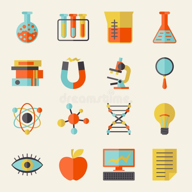 Wetenschapspictogrammen in vlakke ontwerpstijl stock illustratie