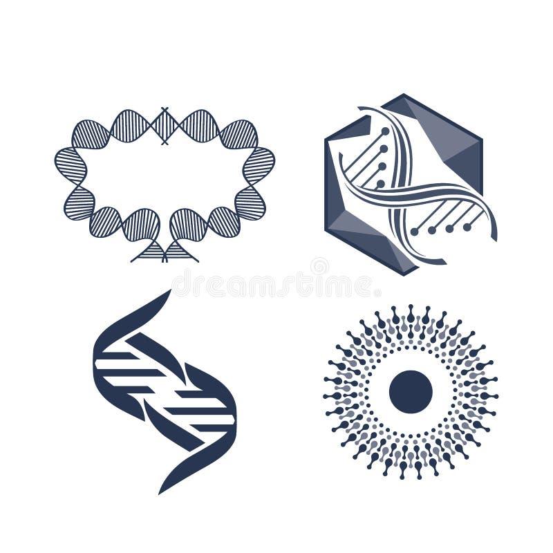 Wetenschapssymbool, moleculair nieuw technologiesymbool Abstract blauw, kleurwetenschaplogo turkooizen, molecuulvectorlogo royalty-vrije illustratie