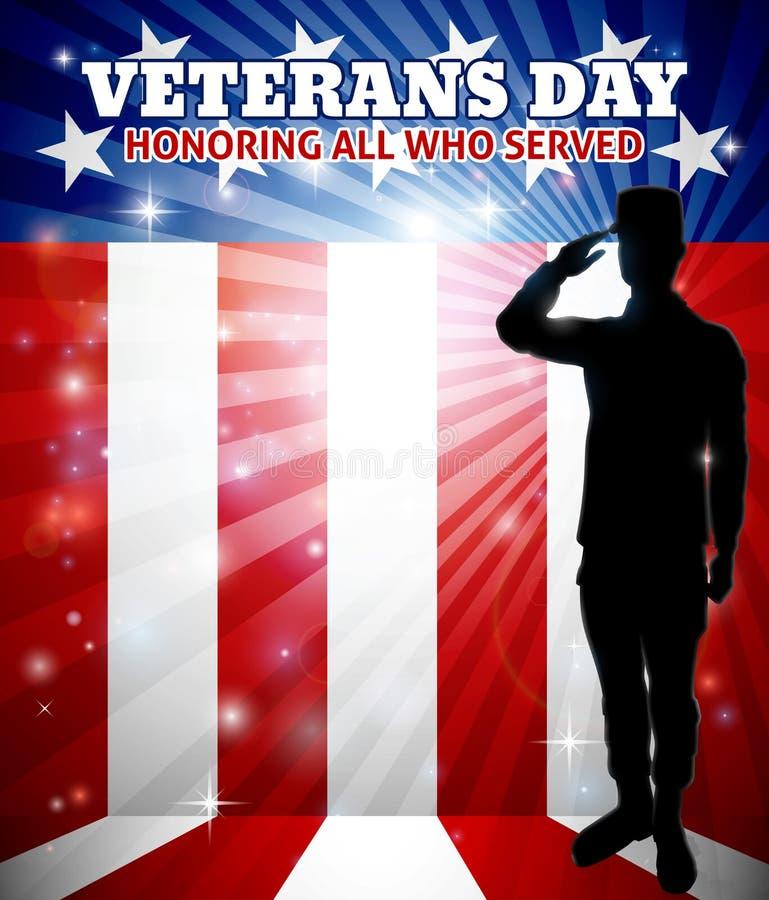 Weterana dnia Amerykański Salutuje żołnierz ilustracja wektor
