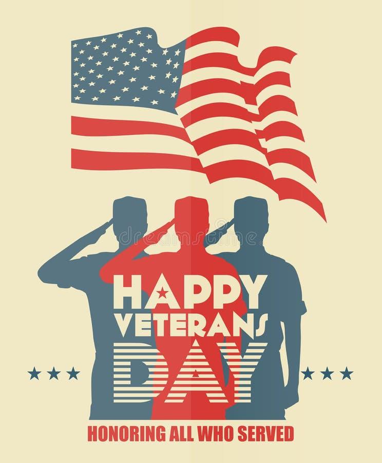 Weterana dnia kartka z pozdrowieniami USA żołnierz w sylwetki salutować ilustracja wektor