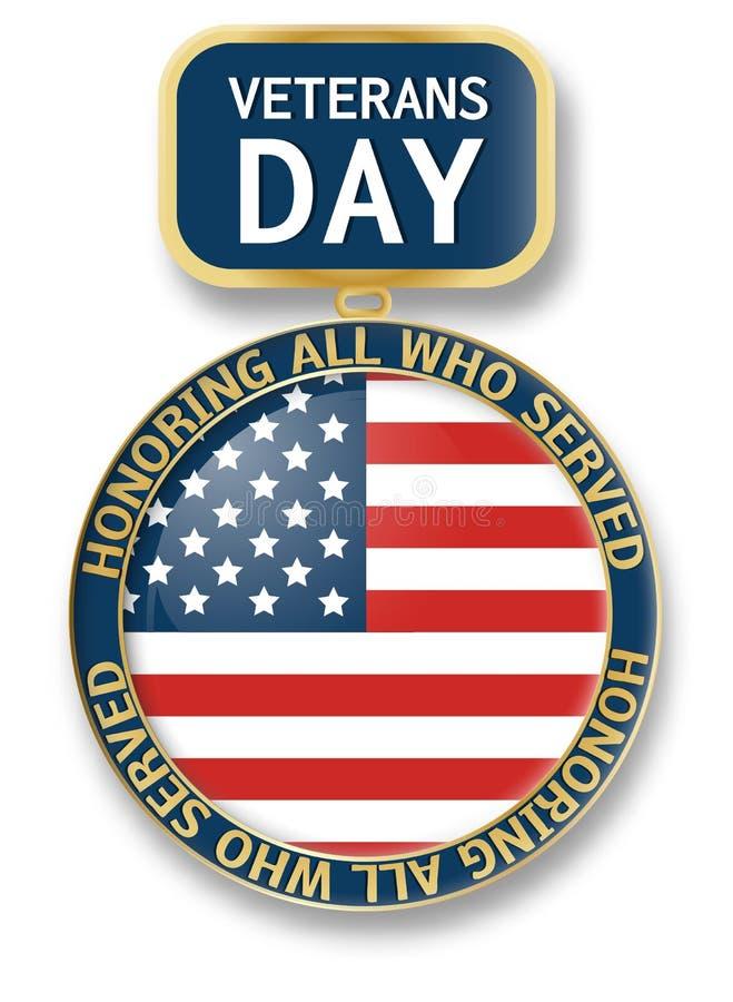 Weterana dnia medalu ikony logo, realistyczny styl ilustracja wektor