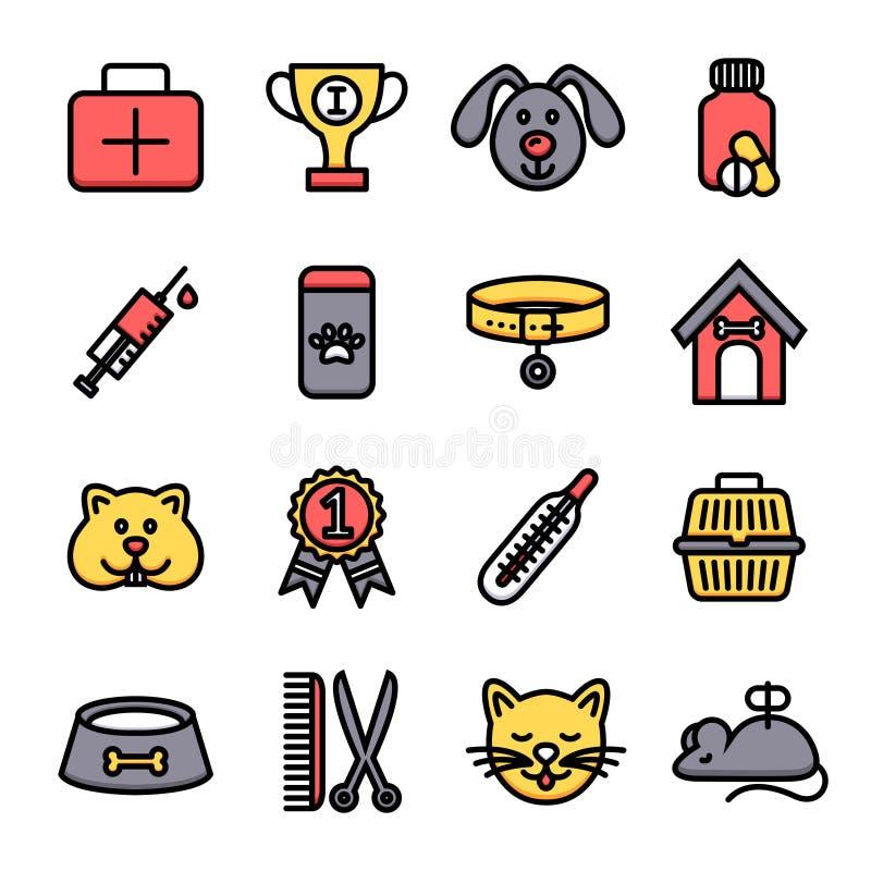 Weterynaryjny ikona set royalty ilustracja