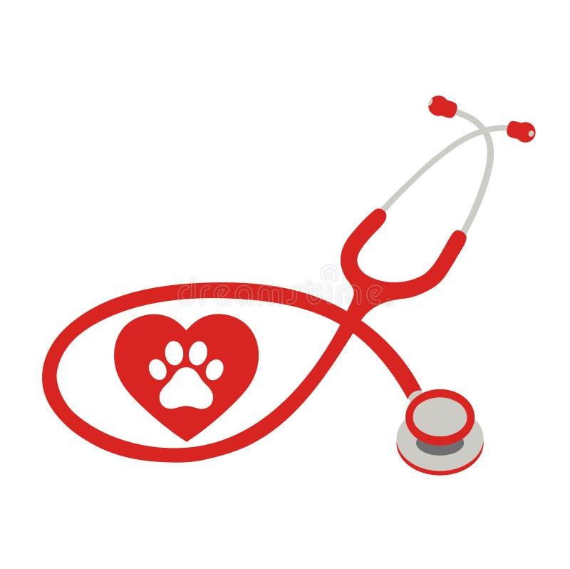 Weterynaryjny klinika logo z wizerunkiem stetoskop i psie ` s łapy ilustracja wektor