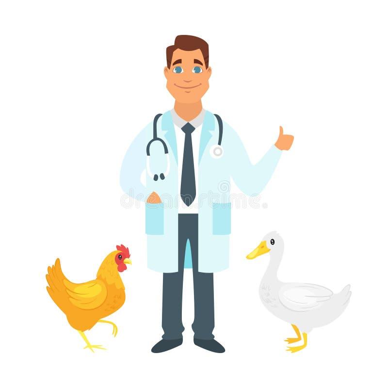 Weterynarz lekarka z rolnymi ptakami royalty ilustracja