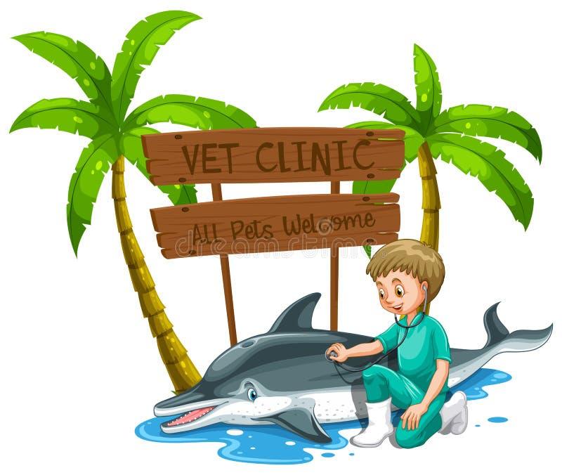 Weterynarz lekarki Checkup delfin przy zoo ilustracji