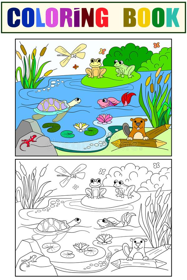 Wetland landscape with animals color and coloring vector for adults stock illustration