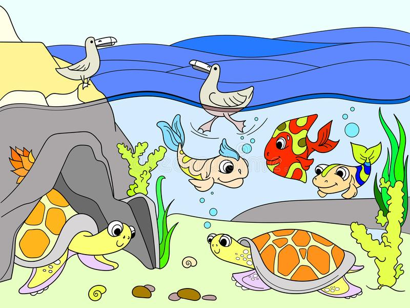 Wetland landscape with animals color vector for adults stock illustration