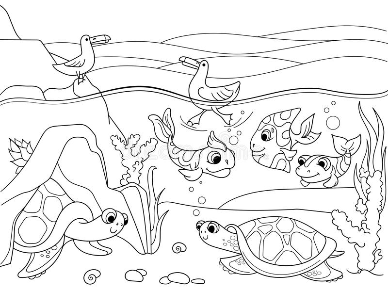 Wetland landscape with animals coloring vector for adults. Wetland landscape with animals coloring book for adults vector illustration. Underwater world with vector illustration