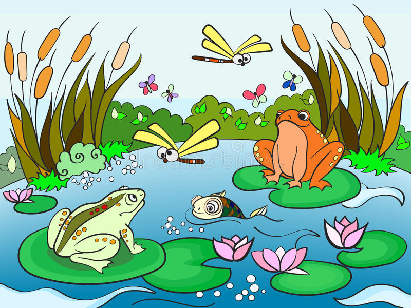 Wetland landscape with animals vector for adults vector illustration
