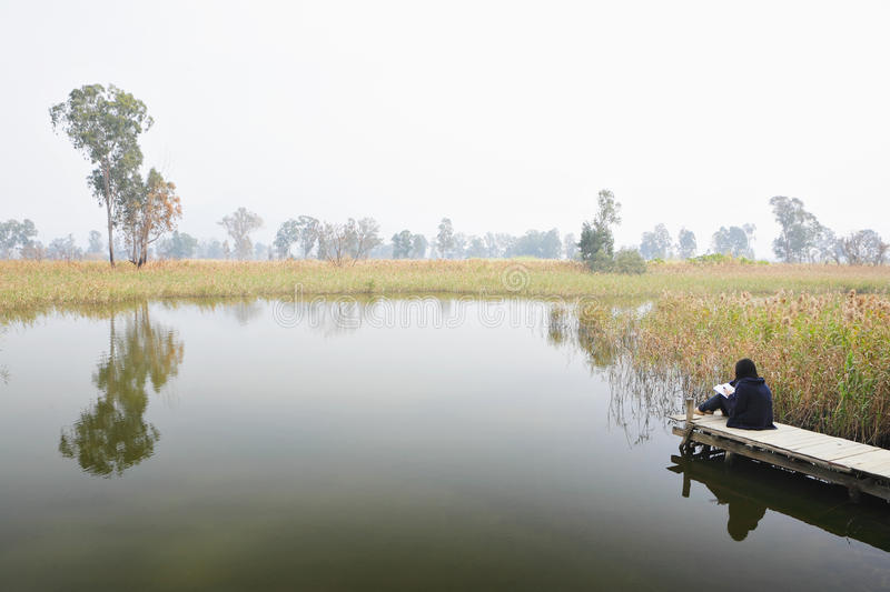 Wetland with lonely girl royalty free stock photo