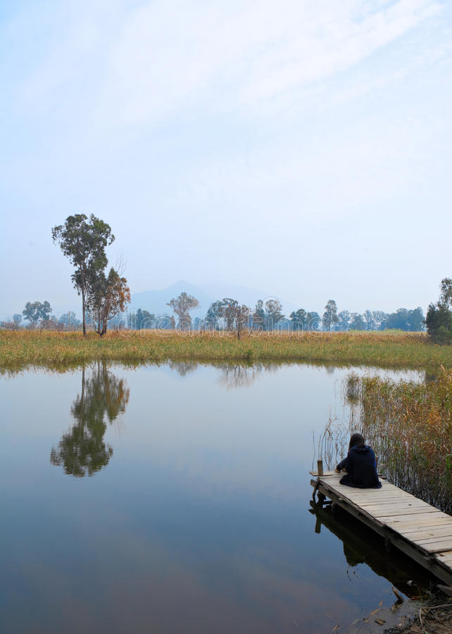 Wetland with lonely girl stock photo