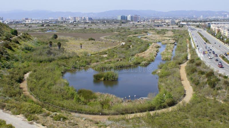 Wetlands Preserve in Playa Del Rey. The Wetlands preservation between Playa del Rey and Marina del Rey, CA. The old Garcia land parcel royalty free stock image