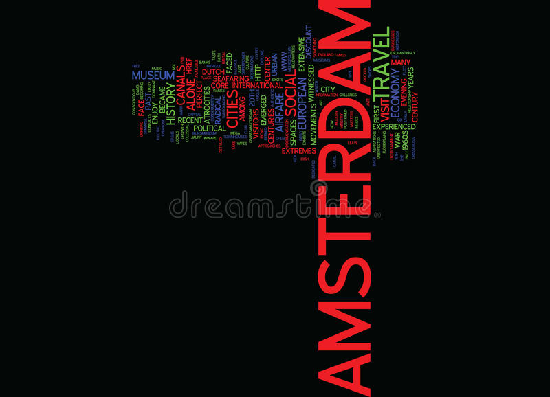 From Wetlands To Canals And Dams Travel To Amsterdam Word Cloud Concept vector illustration