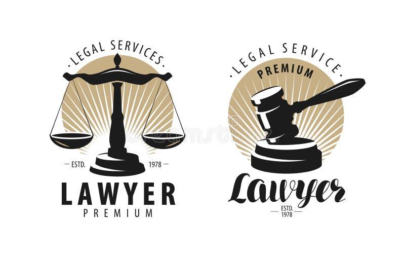Wetsbureau, procureur, advocaatembleem of etiket Schalen van rechtvaardigheid, hamersymbool Vector illustratie royalty-vrije illustratie