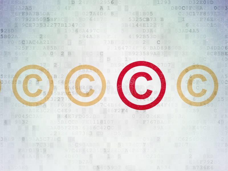 Wetsconcept: auteursrechtpictogram op Digitaal Document stock illustratie