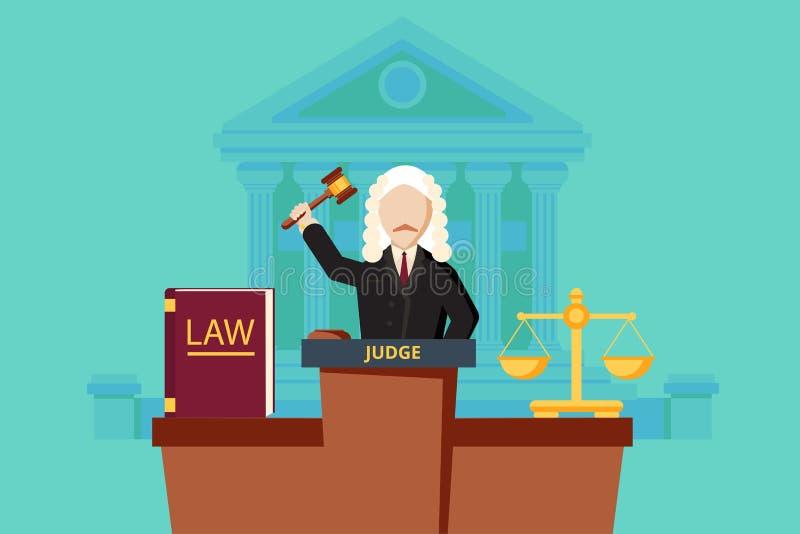 Wetsconcept met rechter en hof de bouw royalty-vrije illustratie