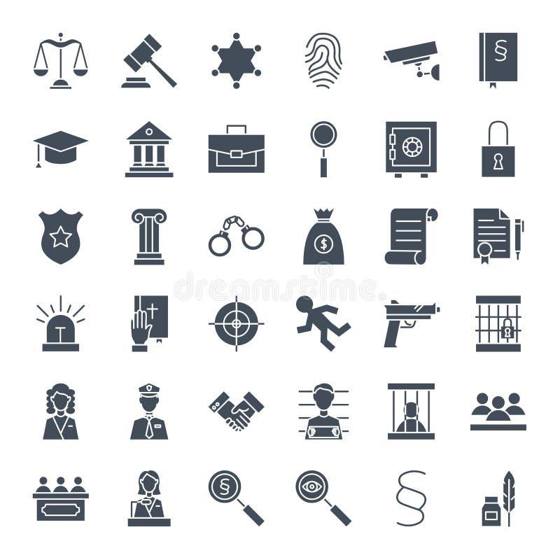Wetsrechtvaardigheid Solid Web Icons royalty-vrije illustratie