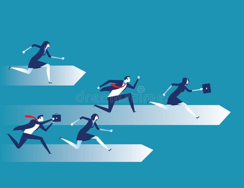 Wettbewerb, Geschäftsleute laufen, Konzeptgeschäftsteam-Vektorillustration, flache Charakterentwurfsart stock abbildung